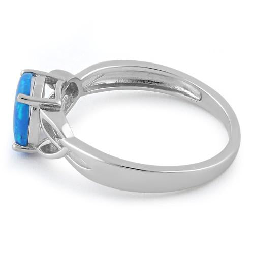 Sterling Silver Center Stone Charmed Blue Lab Opal Ring