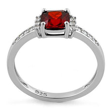Load image into Gallery viewer, Sterling Silver Cushion Dark Garnet CZ Ring