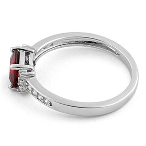 Sterling Silver Cushion Dark Garnet CZ Ring