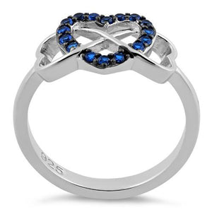 Sterling Silver Infinity Heart Blue Spinel CZ Ring