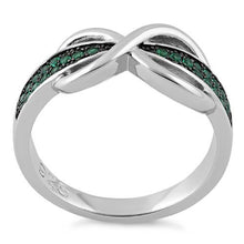 Load image into Gallery viewer, Sterling Silver Infinity Pave Emerald CZ Ring