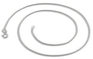 "Sterling Silver 8"" Box Chain Bracelet - 0.85MM"