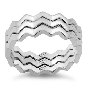Sterling Silver 3 ZigZag Band Ring