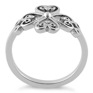 Sterling Silver Cross Heart Fleur-de-lis Ring