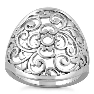 Sterling Silver Filigree Flower Caged Ring