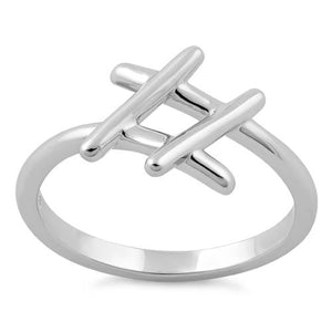 Sterling Silver Hashtag Ring