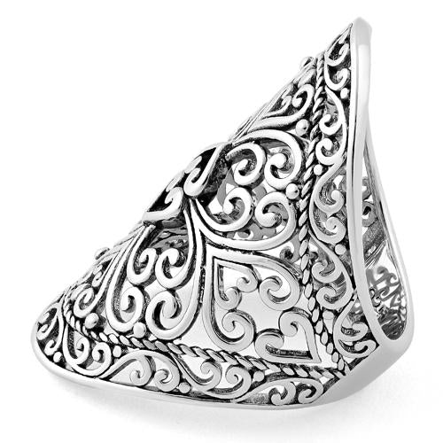 Sterling Silver Hearts Vines Shield Ring