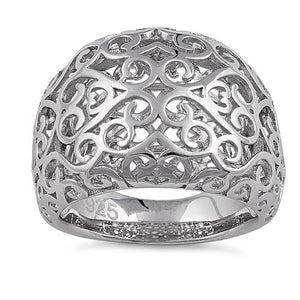 Sterling Silver Resilient Curvey Hearts Ring