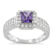 Load image into Gallery viewer, Sterling Silver Amethyst Princess Cut Pave CZ Ring