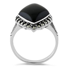 Load image into Gallery viewer, Sterling Silver Black Onyx Diamond Shape Marcasite Ring