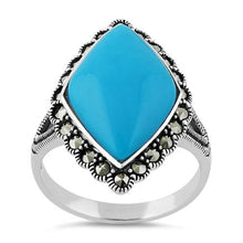 Load image into Gallery viewer, Sterling Silver Simulated Turquoise  Diamond Shape Marcasite Ring