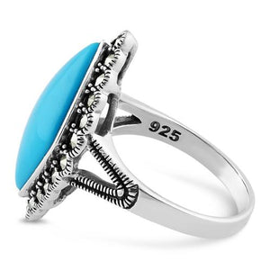 Sterling Silver Simulated Turquoise  Diamond Shape Marcasite Ring
