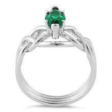 Load image into Gallery viewer, Sterling Silver Celtic Emerald Marquise CZ Ring