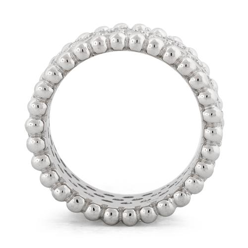 Sterling Silver Eternity Beads Pave CZ Ring