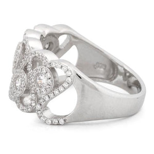 Sterling Silver Hearts Pave CZ Ring