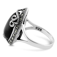 Load image into Gallery viewer, Sterling Silver Pear Shape Black Onyx Marcasite Ring