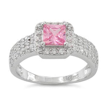 Load image into Gallery viewer, Sterling Silver Pink Princess Cut CZ Ring