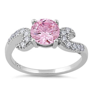 Sterling Silver Round Pink CZ Ring
