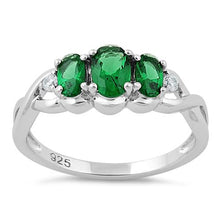 Load image into Gallery viewer, Sterling Silver Triple Oval Emerald CZ Ring