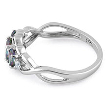 Load image into Gallery viewer, Sterling Silver Triple Oval Rainbow CZ Ring