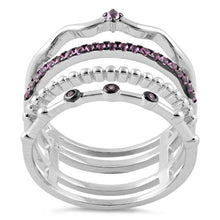 Load image into Gallery viewer, Sterling Silver Unique Multi-Style Ruby CZ Ring