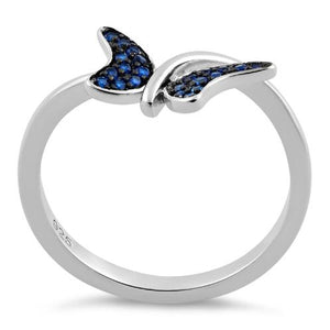 Sterling Silver Buttefly Blue Spinel CZ Ring