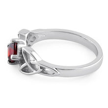 Load image into Gallery viewer, Sterling Silver Celtic Princess Cut Garnet CZ Ring