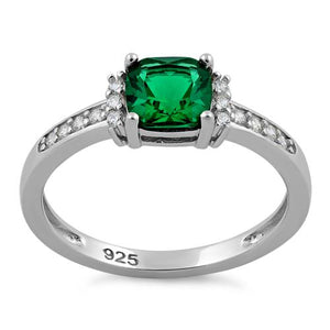 Sterling Silver Cushion Emerald CZ Ring