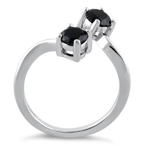 Sterling Silver Dual Round Cut Black CZ Ring