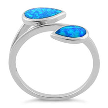 Load image into Gallery viewer, Sterling Silver Feather Blue Lab Opal Ring