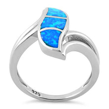 Load image into Gallery viewer, Sterling Silver Fire Shape Blue Lab Opal Ring