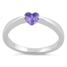Load image into Gallery viewer, Sterling Silver Heart Amethyst CZ Ring