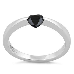 Sterling Silver Heart Black CZ Ring