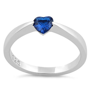 Sterling Silver Heart Blue Spinel CZ Ring