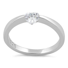 Load image into Gallery viewer, Sterling Silver Heart Clear CZ Ring