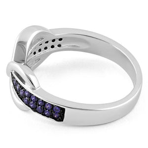 Sterling Silver Infinity Pave Amethyst CZ Ring