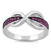 Load image into Gallery viewer, Sterling Silver Infinity Pave Pink CZ Ring