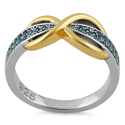Sterling Silver Infinity Pave Two-Tone Aqua Marine CZ Ring