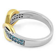 Load image into Gallery viewer, Sterling Silver Infinity Pave Two-Tone Aqua Marine CZ Ring
