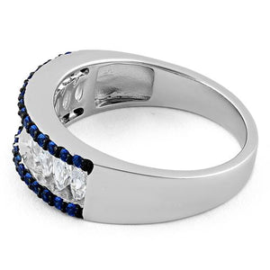 Sterling Silver Marquise Clear & Blue Spinel CZ Ring