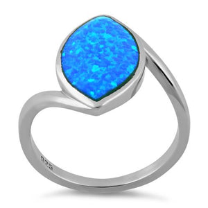 Sterling Silver Marquise Shape Blue Lab Opal Ring
