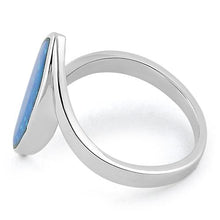 Load image into Gallery viewer, Sterling Silver Marquise Shape Blue Lab Opal Ring