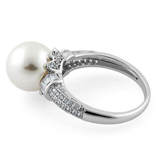 Load image into Gallery viewer, Sterling Silver Queen Crown Synthetic Pearl CZ Ring