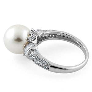 Sterling Silver Queen Crown Synthetic Pearl CZ Ring