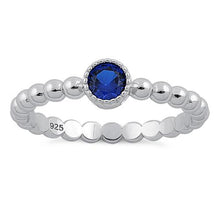 Load image into Gallery viewer, Sterling Silver Round Cut Beaded Blue Spinel CZ Ring