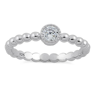 Sterling Silver Round Cut Beaded Clear CZ Ring