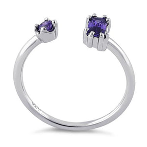 Sterling Silver Round & Emerald Cut Amethyst CZ Ring
