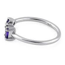 Load image into Gallery viewer, Sterling Silver Round & Emerald Cut Amethyst CZ Ring