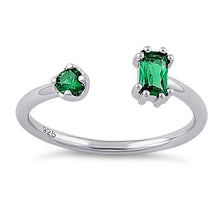 Load image into Gallery viewer, Sterling Silver Round & Emerald Cut Emerald CZ Ring