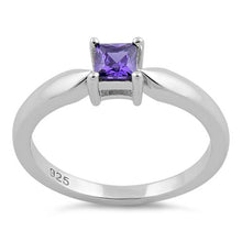 Load image into Gallery viewer, Sterling Silver Square Amethyst CZ Ring